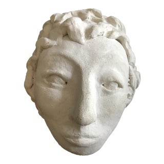Woman's Head Clay Sculpture by Unknown Artist