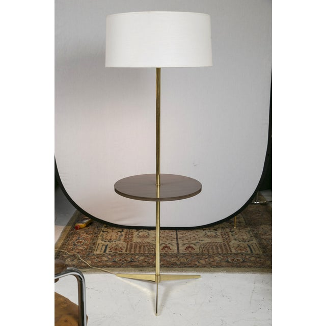 Mid-Century Brass & Formica Table Floor Lamp