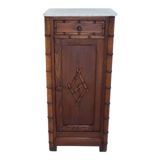 Antique French Marble Top Pine Nightstand