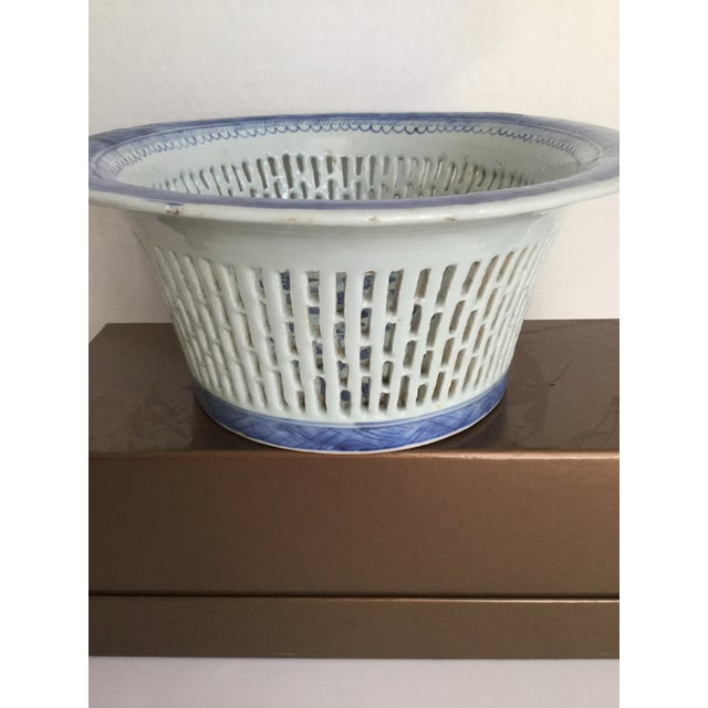 Chinese Canton Blue & White Basket - Image 5 of 7