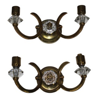 Pair French Art Deco Bronze / Art Glass Wall Lights/ Sconces Circa 1940s.