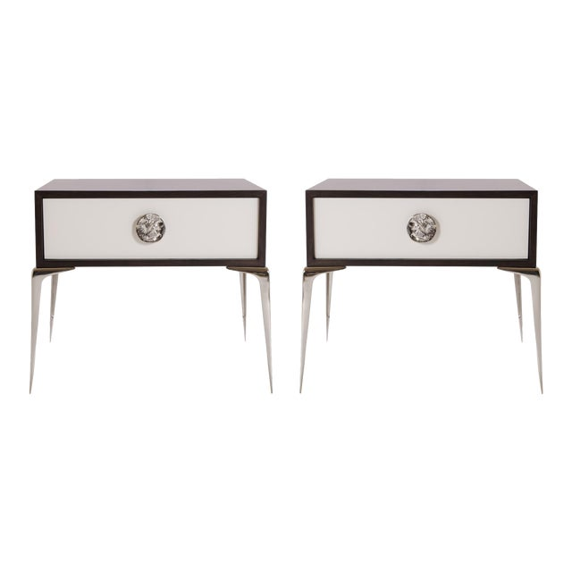 Colette Nickel Nightstands in Ebony & Ivory by Montage, Pair - Image 1 of 9