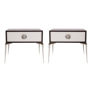 Colette Nickel Nightstands in Ebony & Ivory by Montage, Pair