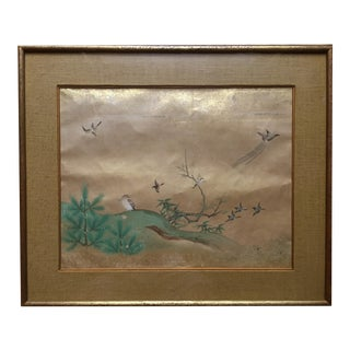 Vintage Chinese Handscroll Birds In a Landscape Painting