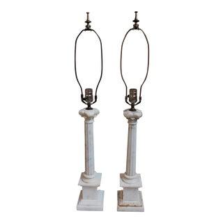 Vintage Marble Column Lamps - A Pair