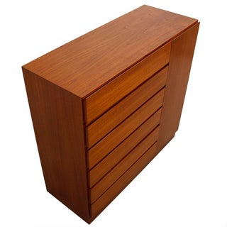 Danish Modern Teak Storage Gent's Chest Dresser