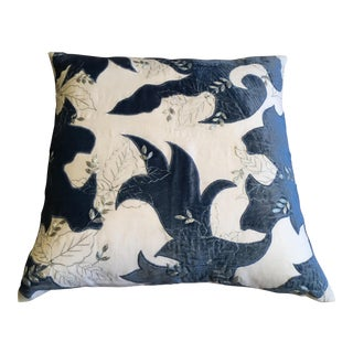 Blue Velvet and White Fabric Pillow Cover