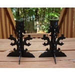 Image of Modern Goth Black Metal Candle Holders