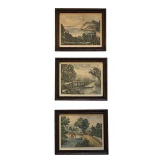 Antique Spring Scene Framed Prints - S/3