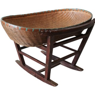 Chinese Wicker Basket Baby Cradle