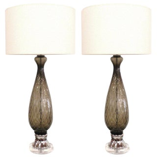 Pair of Italian Grey Glass and Chrome Table Lamps