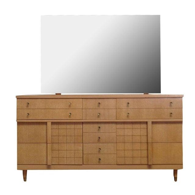 Mid-Century Light Wood Dresser with Mirror - Image 1 of 8