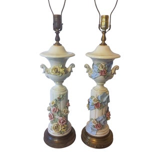 Vintage Rose Porcelain Column Lamps - A Pair