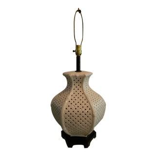 Vintage Nardini Blanc De Chine Pierced Lamp
