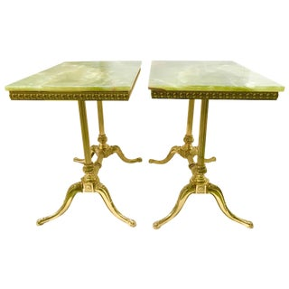 Onyx Top Brass Tables - Pair