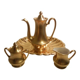 Mid-Century Vintage Pickard Usa Gold Gilt Embossed Floral Coffee/Tea Pot - Set of 4