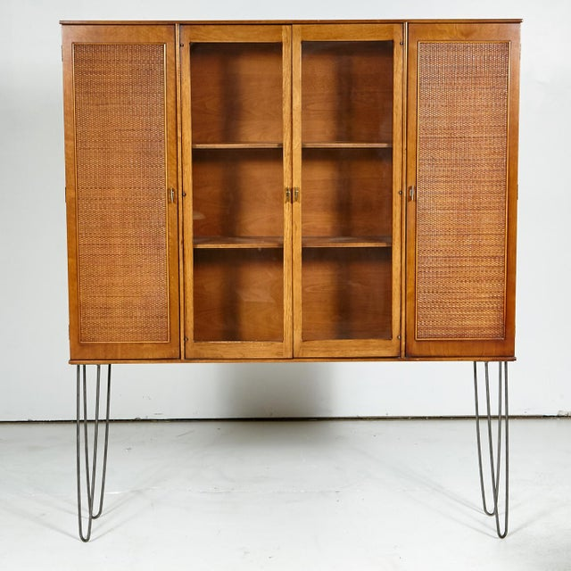 60s Drexel Caned Front Hutch on Hairpin Legs - Image 2 of 8