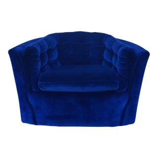 Blue Velvet Mid-Century Modern Swivel Chair