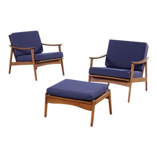 Restored Mid Century Chairs with Ottoman - Pair