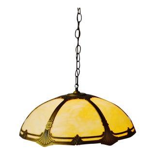 Art Deco Brass and Slag Glass Pendant Swag Chandelier