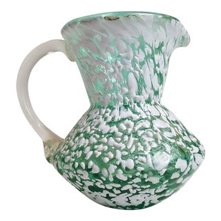 Pilgrim Green & White Splatter Glass Pitcher