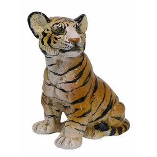 Italian Majolica Ceramic Tiger Cub