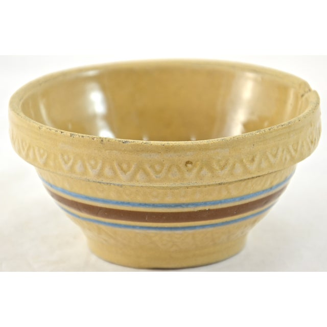 """Image of 1930s Blue Stripe 5"""" Yellow Ware Bowl"""