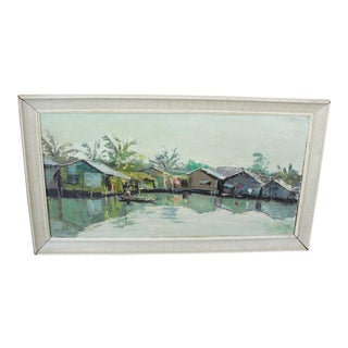Vintage Vietnamese Oil on Canvas Painting
