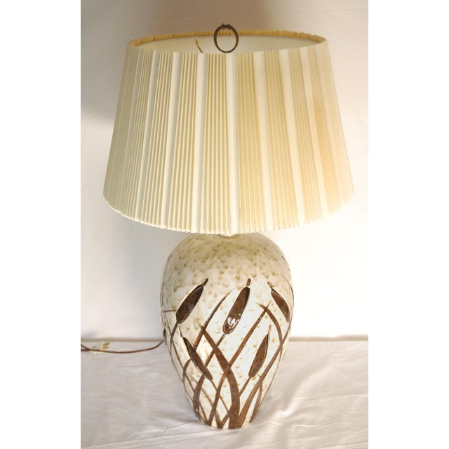 Mid-Century Cattail Lamp With Night Light - Image 3 of 8