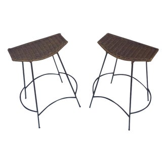 Mid-Century Modern Rattan Counter Bar Stools - A Pair