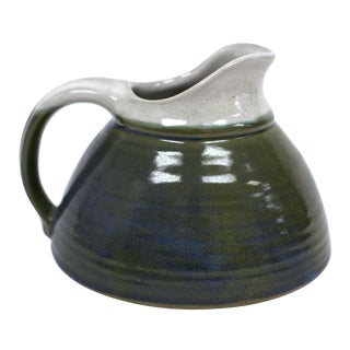 Arts & Crafts Teal Ceramic Pitcher