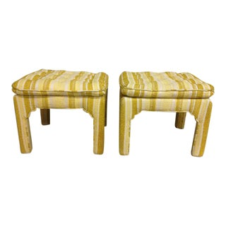 Chinoiserie Tufted Parsons Style Ottomans - a Pair