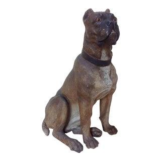 Antique Glass Eyed Terracotta Dog Figure