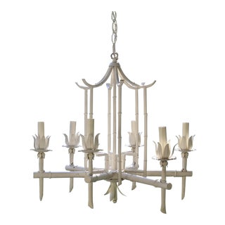 White Tole Metal Pagoda Chandelier