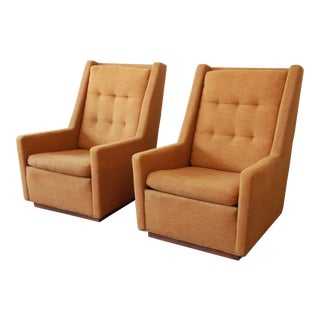 Lounge Chairs and Ottoman by Milo Baughman for James, Inc 'Articulate Seating' - a Pair