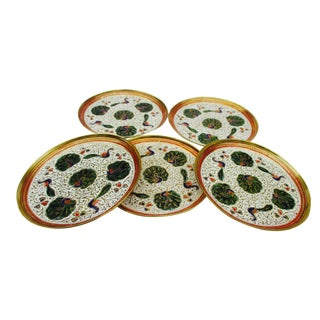 Enamel and Brass Peacock Trinket Dish Bowls - Set of 5
