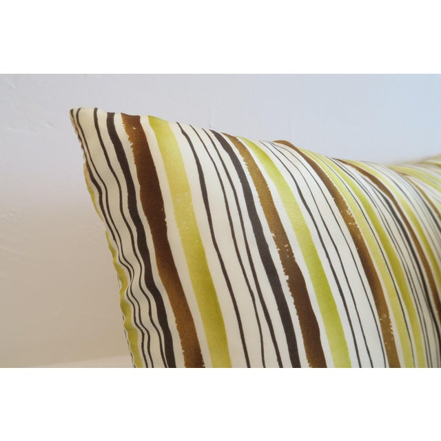 Custom Green Stripe Lumbar Pillows- a Pair - Image 4 of 4