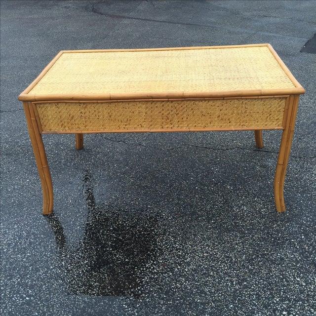 Vintage Island Bamboo Rattan Writing Desk - Image 5 of 11