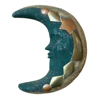 Green Terra Cotta & Brass Moon Wall Hanging