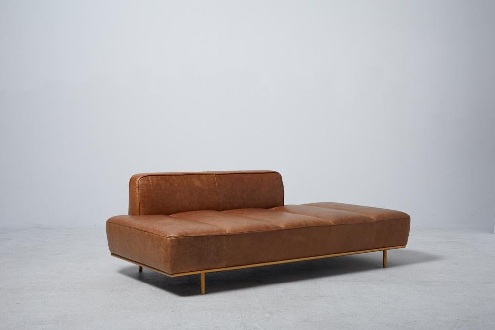 image of lawndale brown leather daybed - Leather Daybed