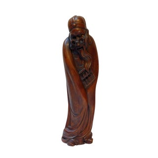 Chinese Traditional Wood Carved Old Man Rich Stingy Figure Statue