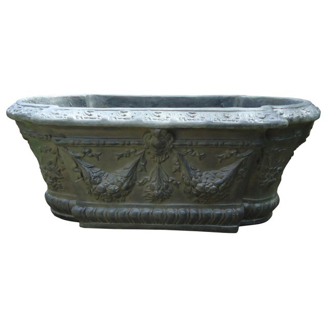 Faux Black Iron Fiberglass & Resin French Planter - Image 1 of 4