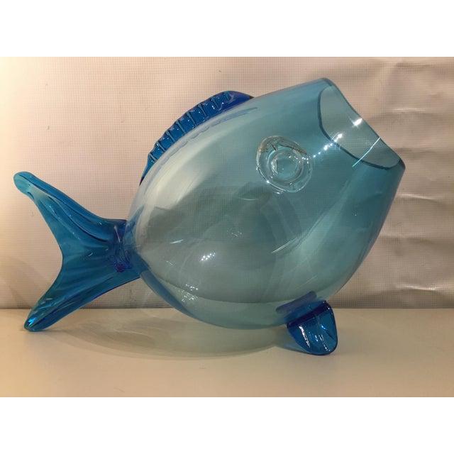 Huge Mid Century Turquoise Blenko Fish - Image 2 of 6