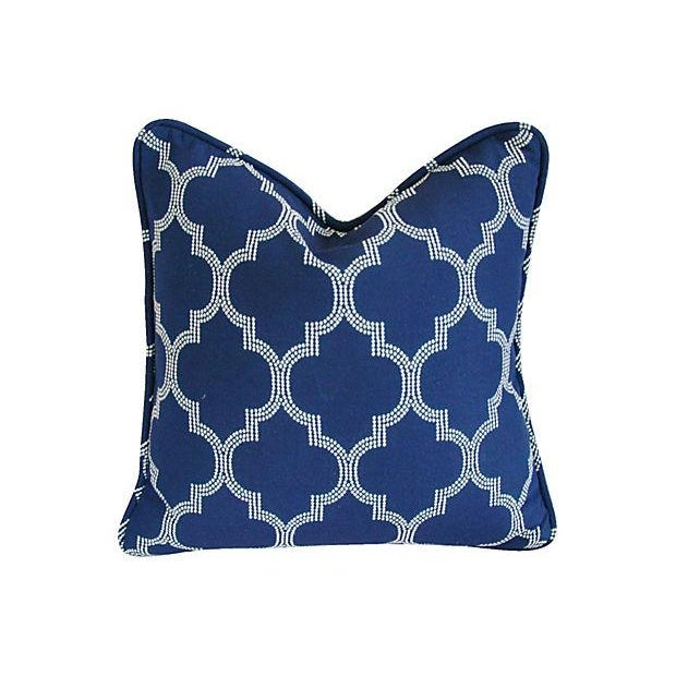 Custom Bocce Blue White Geometric Pillows- A Pair - Image 2 of 7