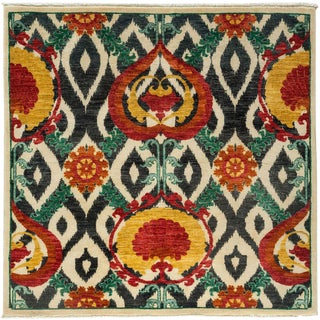 """Suzani, Hand Knotted Square Rug - 5' 1"""" x 5' 2"""""""