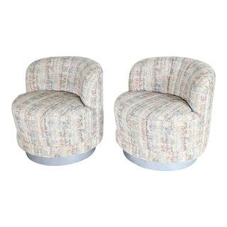 Milo Baughman Style Swivel Lounge Chairs - a Pair