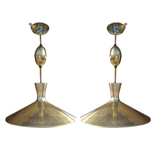 Mid-Century Brass Pendant Lights - A Pair