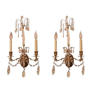 Antique Crystal Sconces - A Pair