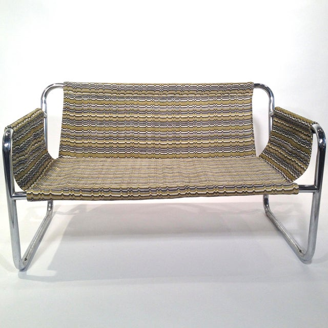 Zermatt Tubular Chrome Sling-Back Settee - Image 6 of 6