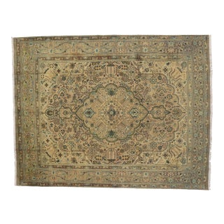 Vintage Persian Tabriz Rug with Modern Traditional Style - 9'9x12'6